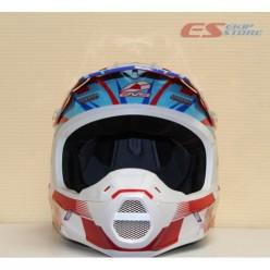 Шлем (кроссовый)  EVS T5 SPEEDWAY (красный/синий глянцевый)