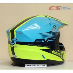 Шлем (кроссовый)  EVS T5 WORKS (синий/Hi-Vis желтый глянцевый)