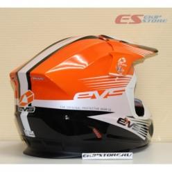 Шлем (кроссовый)  EVS T5 WORKS (оранжевый/белый/черный глянцевый)