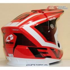 Шлем (кроссовый)  EVS T5 VECTOR (красный/черный глянцевый)