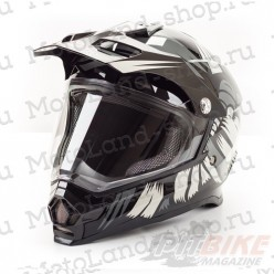 Шлем (Мотард) HIZER B6196-1 black
