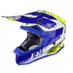Шлем (кроссовый) JUST1 J32 PRO Kick белый/синий/желтый