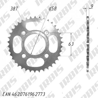 Звезда ведомая (530-38T) (4x63) D58 CG125-250, CB125-250 TTR250a std (original)